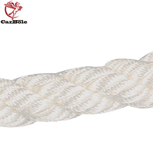 CARBOLE Twisted Anchor Rope 3/4 inch 200 Feet White Line Nylon Three Strand Dockline Braided Anchor Rope Sail Boat Line 12592LB
