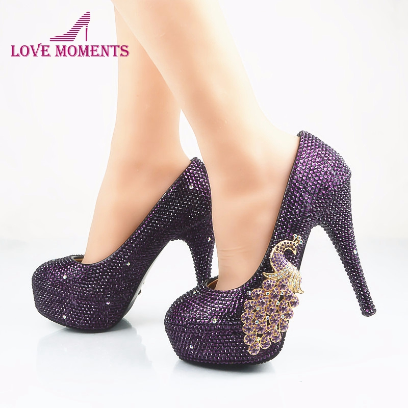 Crystal Bridal Shoes Purple Color Size 45 Nightclub Rhinestone Wedding Party Shoes Graduation Prom High Heels Cinderella Pumps cinderella high heels crystal wedding shoes 14cm thin heel rhinestone bridal shoes round toe formal occasion prom shoes