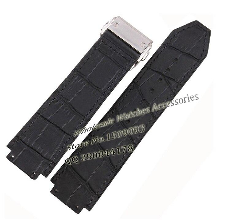 25mm(lug 19mm) New Men WATCHBAND High Quality Black Rubber+Crocodile GRAIN Leather Watch Band Strap Deployment Buckle  For BRAND new handmade 22mm black crocodile grain
