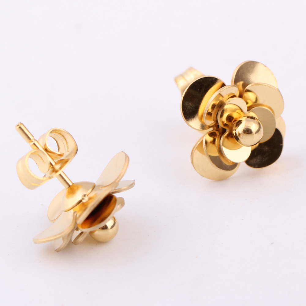 Fashion Women Earrings 316LStainless Steel Rose Gold Flower Stud Earrings 9