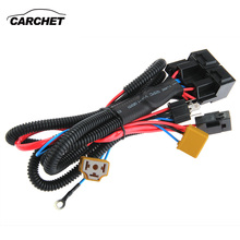 Promo CARCHET H4/9003 Headlight Booster Cable Wire Harness Connector Relay Fuse Socket Black H4 Headlight Connector Fuse Socket