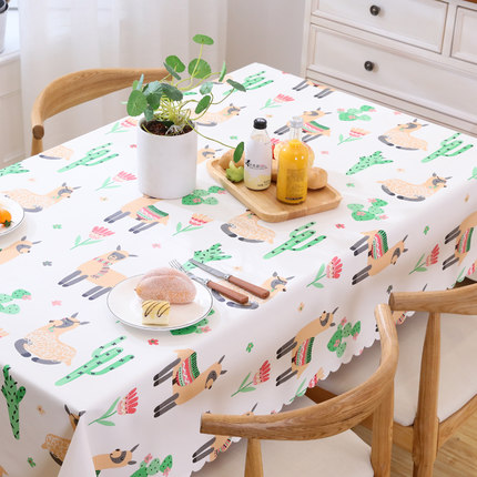 Waterproof, oilproof, anti-scalding, disposable tablecloth, fabric style, European style PVC coffee table cloth
