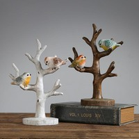Creative Natural Resin Birds Office Desktop Decoration for Home Decor Crafts Brief Jewelry Tree Shelf Hanging for Birthday Gifts