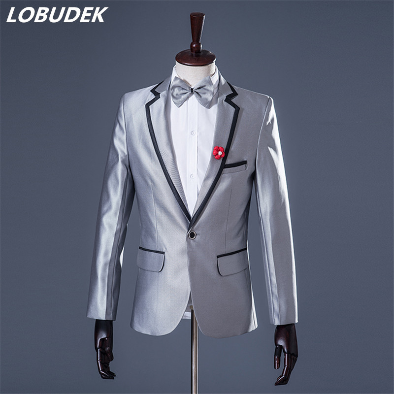 male suits prom groom Europe wedding banquet blue stamp slim Suit jacket blazer singer dancer star nightclub party