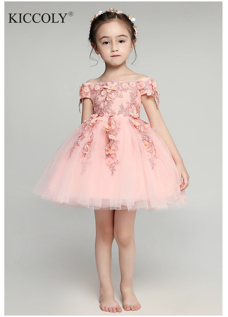 Glizt Shoulderless платья для первого причастия девочек Vestido daminha Casamento Роскошные бальное платье розовый органзы с цветочным узором