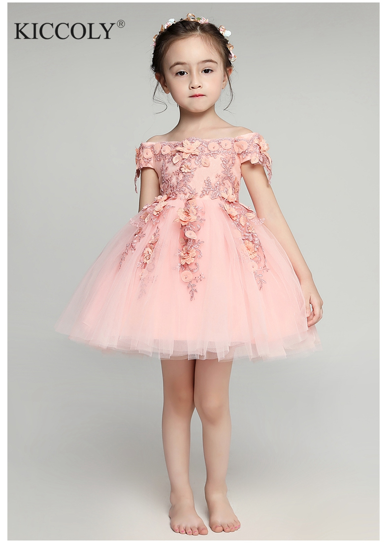 Glizt Shoulderless first communion   dresses   for   girls   Vestido Daminha Casamento Luxury Ball Gown Pink Organza   Flower     Girl     Dresses
