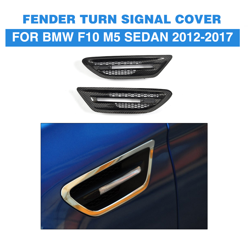 Dry carbon Air Flow Fender Side Vents Mesh Sticker Hole Grille Trims for BMW 5 series F10 M5 Sedan 4 Door 2012 2017