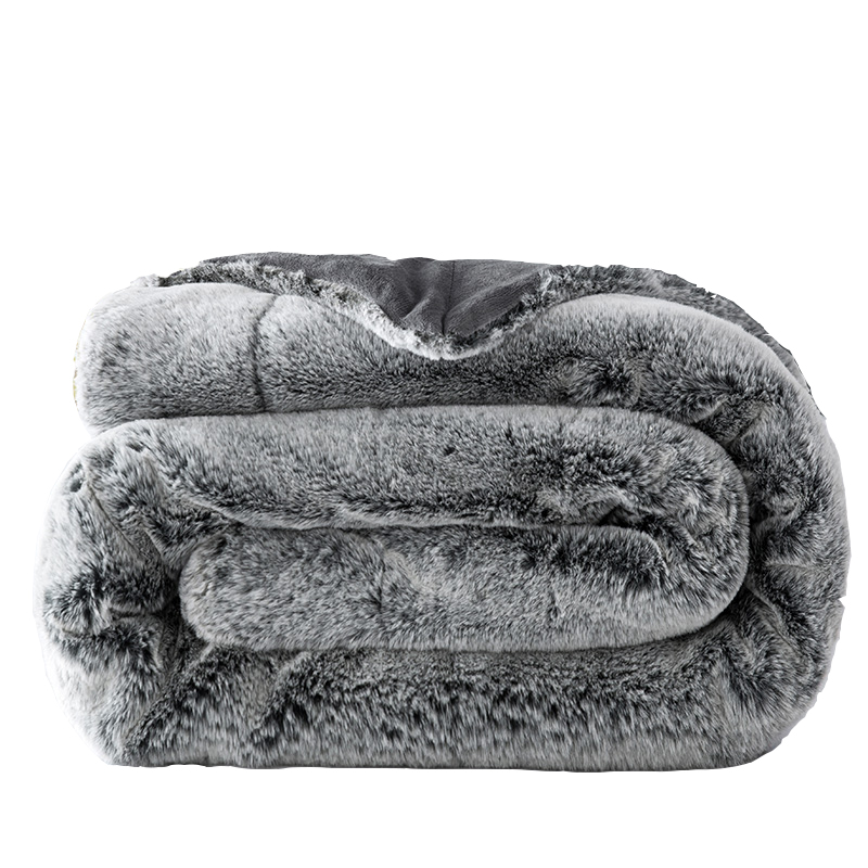 Fluffy Thick Rabbit Fur Plush Blanket Chunky Warm Sofa Plaid Twin Full Size Soft Cobertor Mink