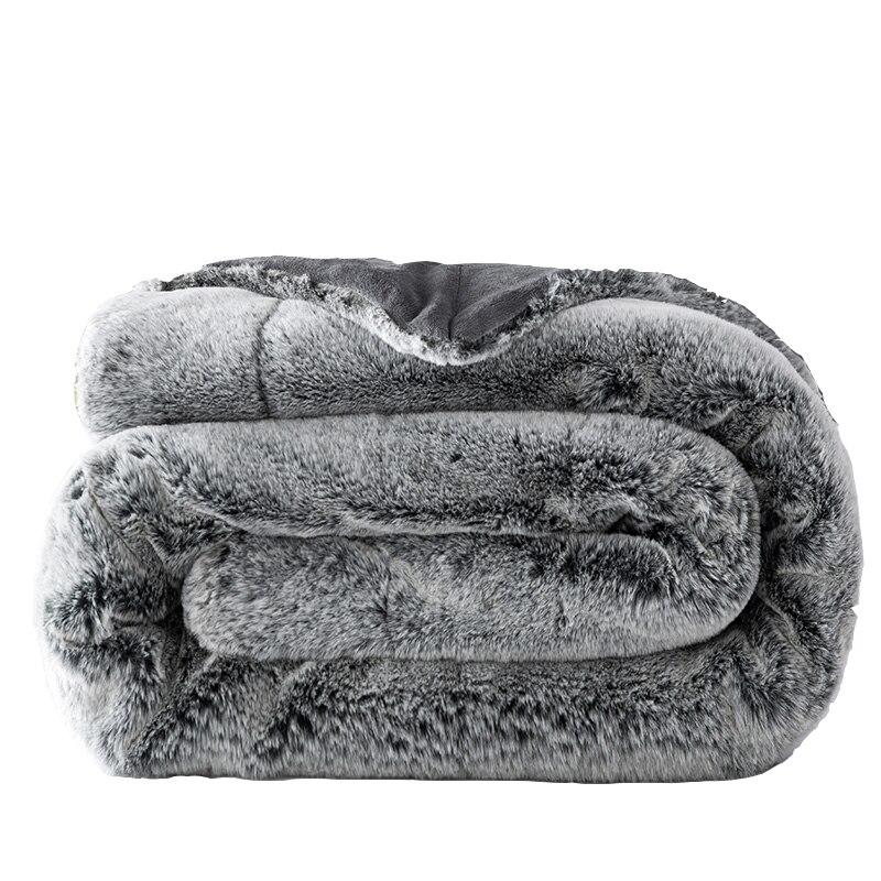 رقيق سميكة الفراء أرنب أفخم بطانية مكتنزة الدافئة أريكة منقوشة حجم التوأم الكامل المنك رمي الأريكة كرسي سرير لينة cobertor البطانيات-في بطاطين من المنزل والحديقة على  مجموعة 1