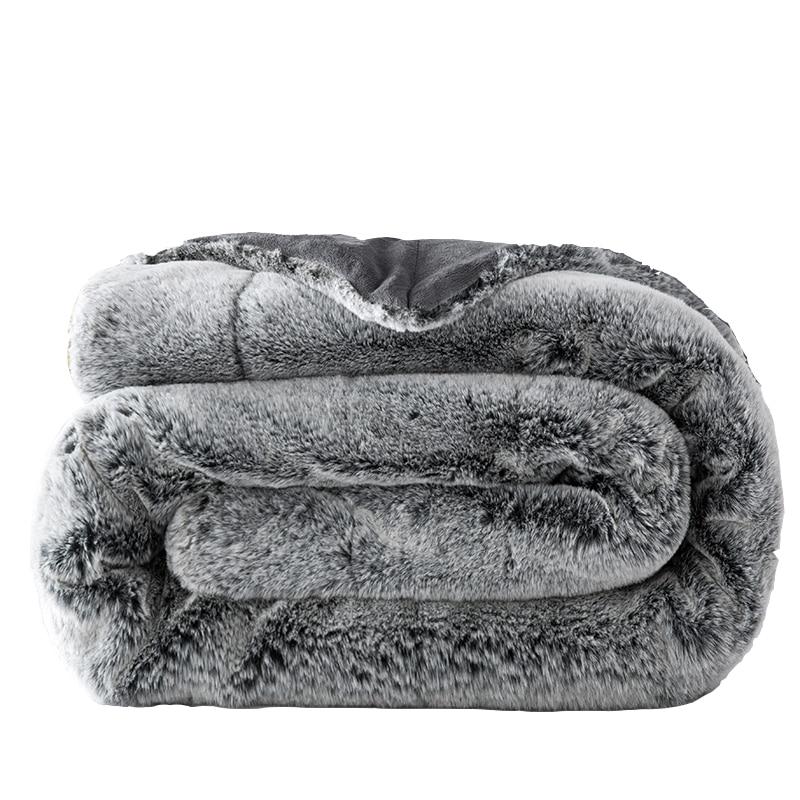 Manta de felpa gruesa y peluda de conejo Manta de peluche Sofá - Textiles para el hogar
