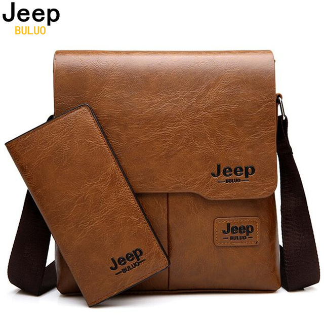 JEEP BULUO Man Messenger Bag 2 Set Men Pu Leather Shoulder Bags Business Crossbody Casual Bag Famous Brand ZH1505/8068
