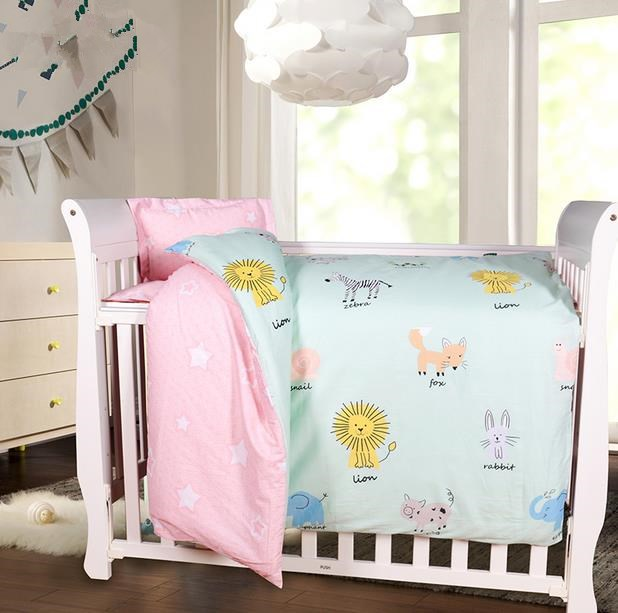 3Pcs Baby Beddding Sets Soft Breathable Nordic Style Cartoon Comb Cotton Print Bedding Newborn Quilt Cove Bed Sheet Bedding