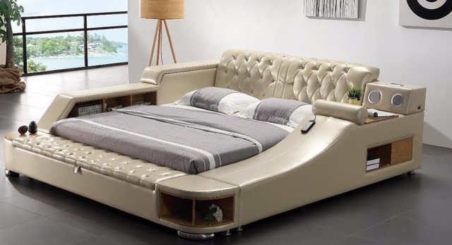 real genuine leather bed with massage /double beds frame king/queen size bedroom furniture camas modernas muebles de dormitorio