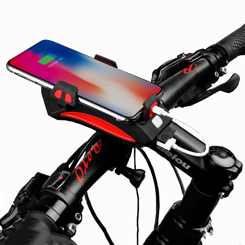 4 In 1 Bike Light USB Highlight Bicycle Phone Holder Light Cycling Horn Led Light Power Bank Mobile Phone Bracket Rechargeable