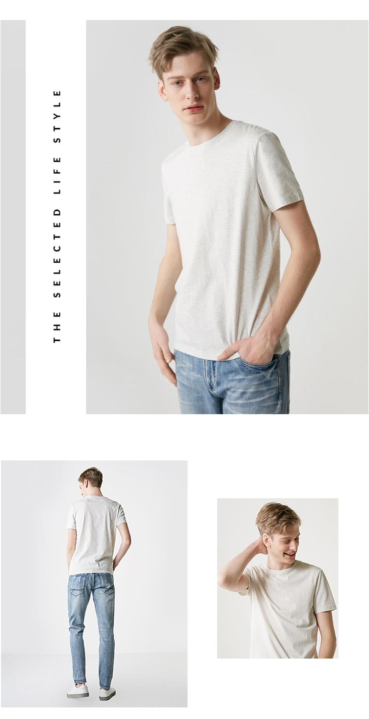 Men's Summer 100% Cotton Pure Color Round Neckline Short-sleeved T-shirt 48