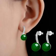 цена на 2017 new arrival hot sell fashion Synthetic jade 925 sterling silver ladies`stud earrings women jewelry wholesale drop shipping