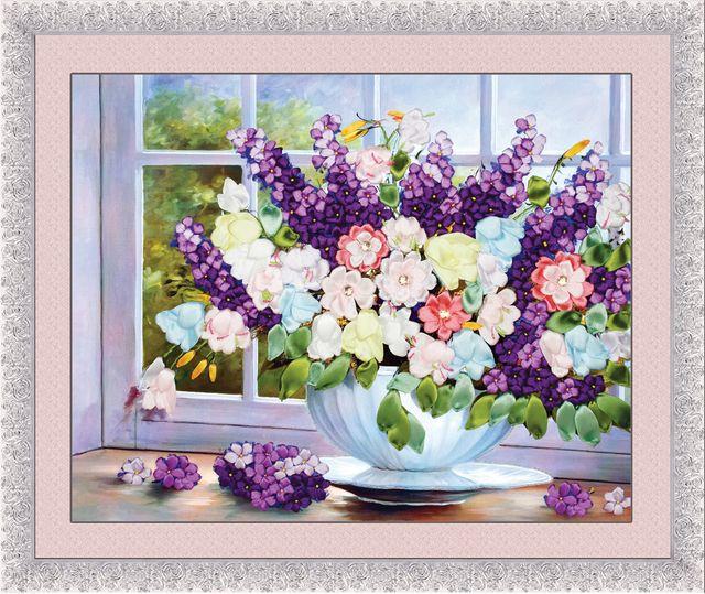 6050cm 3d Flower Vase On Window Ribbon Embroidery Kit Handcraft Kit