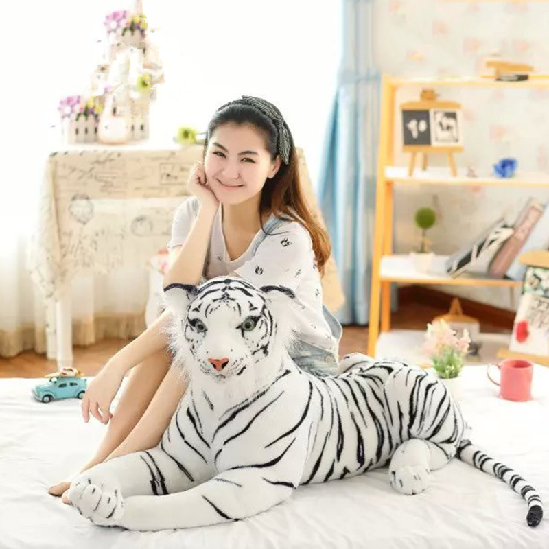 цена на Simulation tiger white plush giant tiger white tiger plush doll boy's kids children Christmas gifts soft plush toys