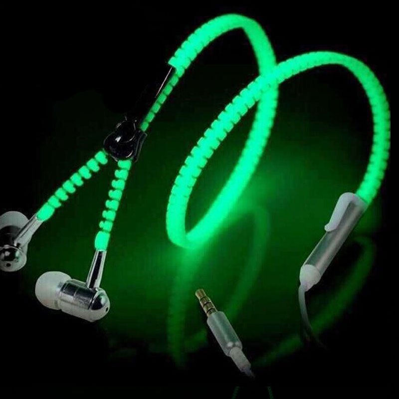 HANGRUI Luminous audifonos Glowing Metal Zipper Earphone Light Glow In The Dark Earphones for Iphone Samsung Xiaomi smart phone