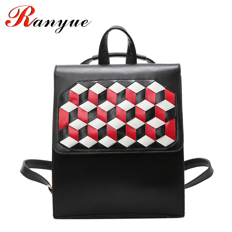 цены на RANYUE 2018 Knitting Girls Backpack Rivet Women Shoulder Bags PU Leather School Bag Women Casual Style Women Backpacks Plaid Bag в интернет-магазинах