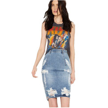 High Waist Slim Package Hip Washed Jeans Hole Inverted V Sexy Ladies skirts,pencil Jupe femme,denim Sexy Bandage Skirt TT1225
