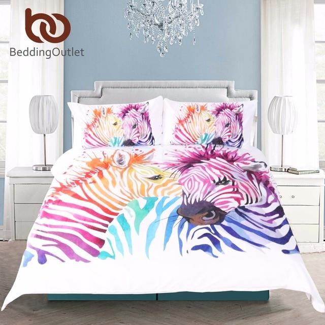 beddingoutlet safari zebre ensemble de literie imprime housse de couette ensemble colore animal lit couverture taie