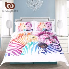 BeddingOutlet Safari Zebra Bedding Set Printed Duvet Cover Set Colored Animal Bed Cover Pillow Case Twin Full Queen King Home