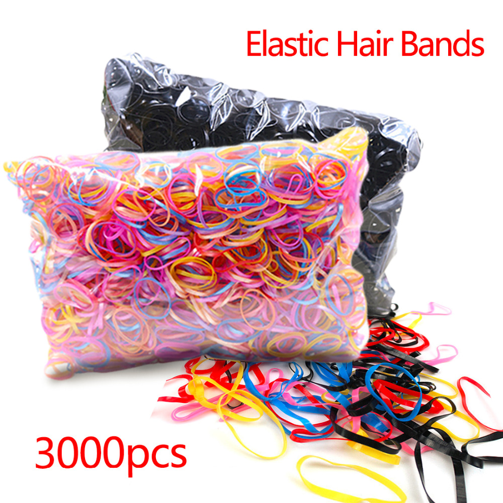 Women Girls' Elastics Hair Bands About 3000pcs/pack TPU Band Hair Holders Hair Accessories for Children Braiding Rubber Bands 30pcs candy fluorescence colored hair holders high rubber baby bands hair elastics accessories girl women tie gum and spring