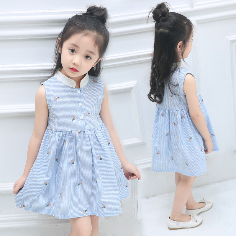2017 Summer Girls Dress Embroidery Floral Girls Clothes Infant Princess Children Clothing Vest Fashion 2017 Kids Dresses new girls dress brand summer clothes ice cream print costumes sleeveless kids clothing cute children vest dress princess dress