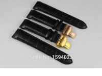 22mm Buckle 20mm T035407A T035410 High Quality Golden Butterfly Buckle Black Genuine Leather Curved End Watchband