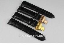 22mm (boucle 20mm) T035407A T035410 Haute Qualité D'or Papillon Boucle + Noir Véritable En Cuir curved end Bracelet ceintures homme