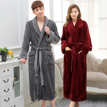 Hot Selling Lovers Long Warm Coral Fleece Bathrobe Men Winter Super Soft Flannel Kimono Bath Robe