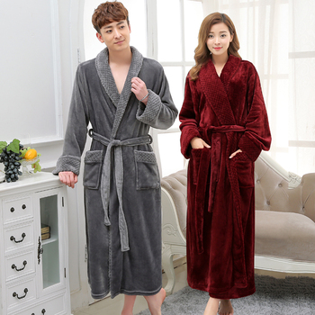 Hot Selling Lovers Long Warm Coral Fleece Bathrobe Men Winter Super Soft Flannel Kimono Bath Robe