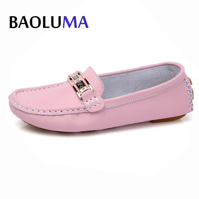 Baoluma 2018 Spring Women Genuine Leather Flats Casual Shoes Metal Slip On Flats Female Oxfords Candy Color Shoes Lady Flats xiuteng 2018 spring genuine leather women candy color flats soft rubber sole ladies casual high quality beach walking shoes