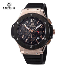 Megir Hombres de Negocios de Moda de Lujo Reloj CRONÓGRAFO Relojes Deportivos de Silicona de Oro Top Brand Militar Reloj relogio masculino