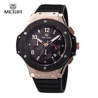 MEGIR Brand Men S Sports Quartz Watch Analog Fashion Silicone Wristwatches WaterProof Brass Dial Clock Relogio