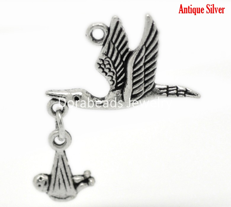 Doreen Box Lovely 20PCs Antique Silver Flying Stork W/ Dangling Baby in Bundle Charm Pendants 30x24mm (B20967)