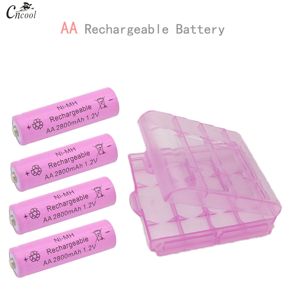 4pcs/lot 1.2V AA Rechargeable Battery with Plastic Box Ni-MH 2800mAh AA NI-MH batteries for Remote control Toys LED light