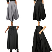 New Elegant Women High Waist Pleated A Line Long Skirt Front Slit Belted Maxi Skirt S-XXL high elasticity pocket pleated skirts