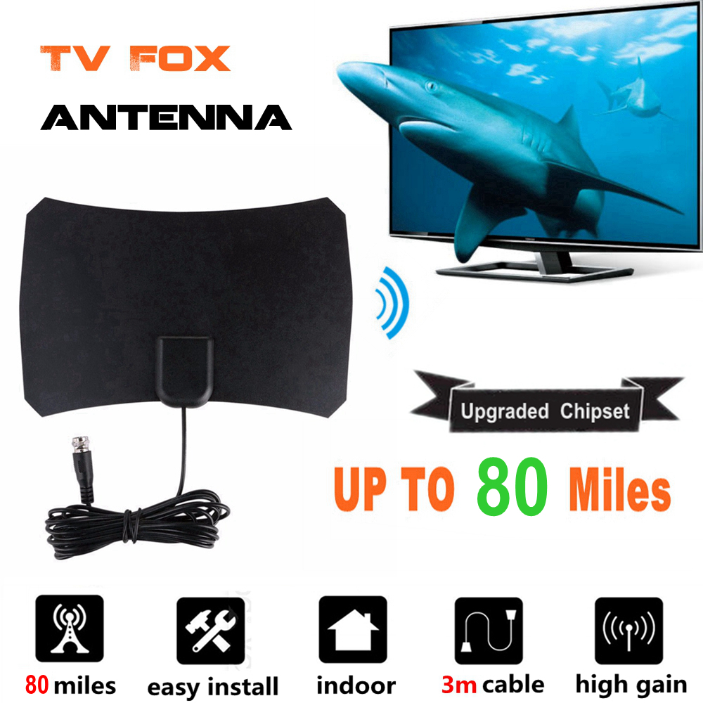 High Gain Indoor Digital TV Antenne HDTV Radius Antenne TV Fox Surf Antennen Bat Luft Innen Verstärker 80 Meile DVB-T UHF VHF