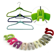 10 Pcs Multifunction Mini Clothes Shelf Flocking Hanger Hook