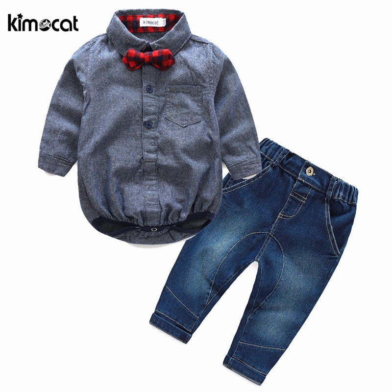 Kimocat autumn spring baby boy girl clothes Long sleeve   rompers   shirts+jeans baby boys clothes baby clothing set