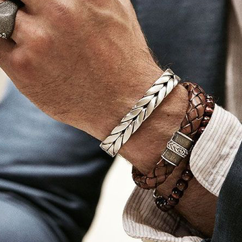 Mcllroy men Bangles male Vintage gentlem leather fashion Bangles Bracelets Twisted Braiding Stainless Steel Wires Cuff