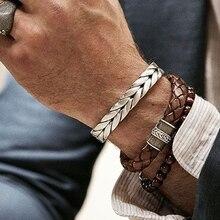 Mcllroy мужские браслеты/мужские/Винтажные/gentlem/кожаные/модные/браслеты Браслеты витая плетение из нержавеющей стали провода манжеты 2018