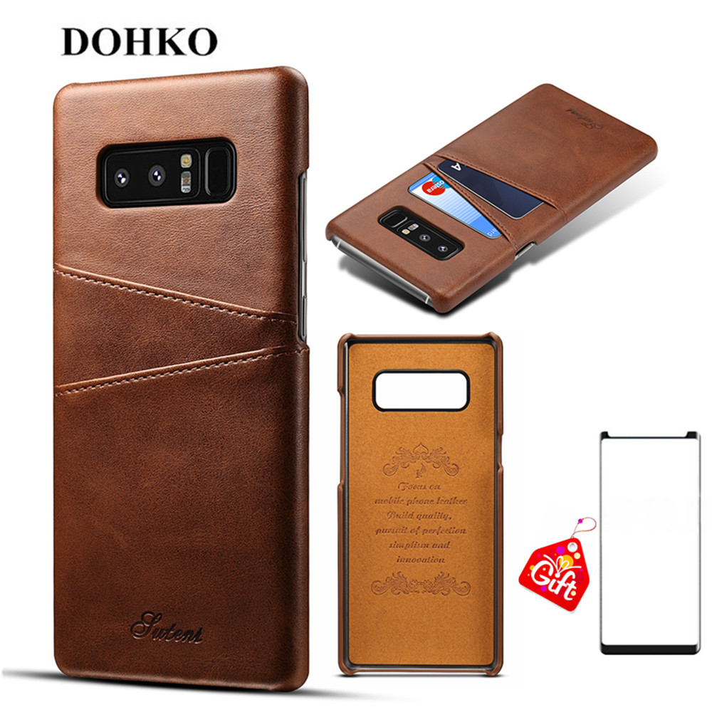 DOHKO Luxury Leather Wallet Case Cover Slim PU Leather Back Cover With Card Holder For Samsung Galaxy NOTE 8+Screen Protector