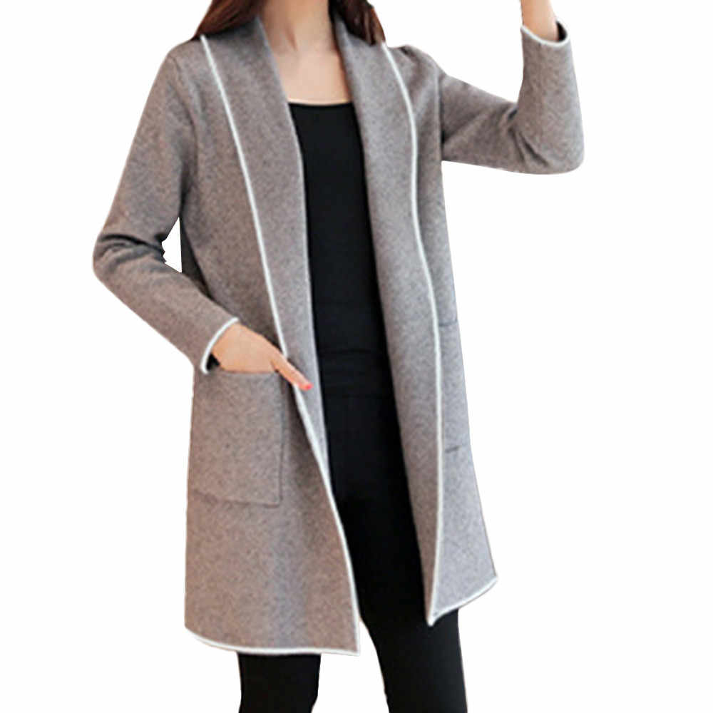 knitted Cardigan Women autumn Winter Loose Elegant Windbreaker Sweater Coat long Cardigan fashion casual d90709