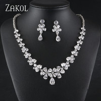 ZOKOL Elegant Charm Bridal Jewelry Sets Wedding Jewelry Silver Plated Cubic Zirconia Necklaces Earrings Set Dropshipping FSSP455
