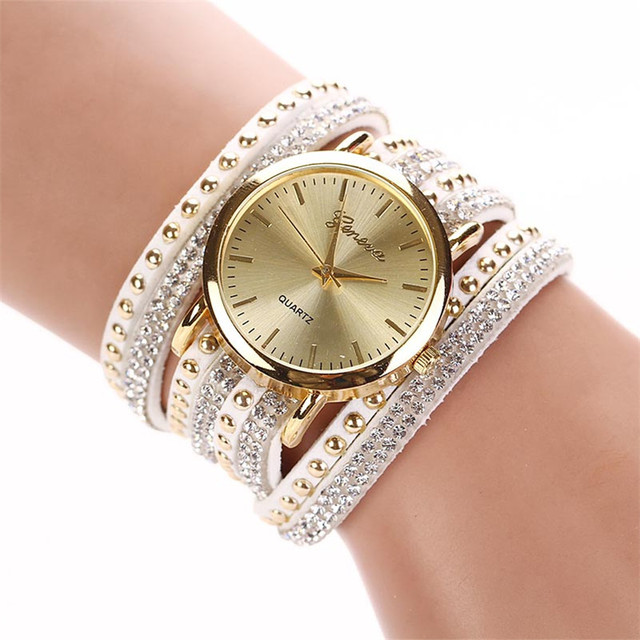 Women Watches Crystal Rivet Bracelet Watch leather Quartz Braided Winding Wrap W