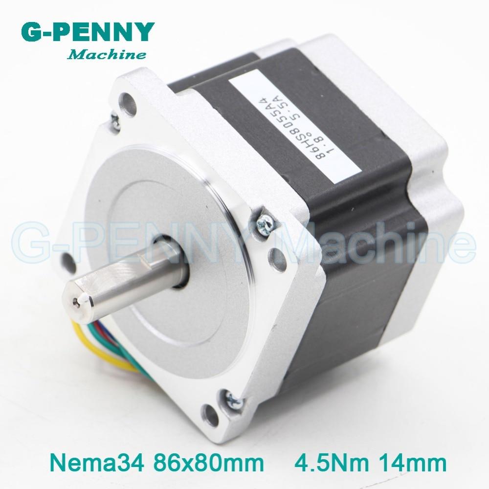 NEMA34 CNC schrittmotor 86X80mm 4.5N.m 5.5A welle 14mm nema34 für stepp motor 640Oz-in für CNC gravur maschine 3D drucker