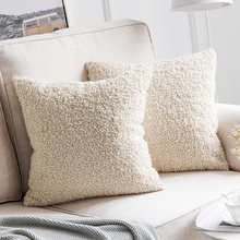 Decorative  Faux Wool Fur Throw Pillow Covers Super Soft Cases Luxious Cushion for Sofa 45*45cm